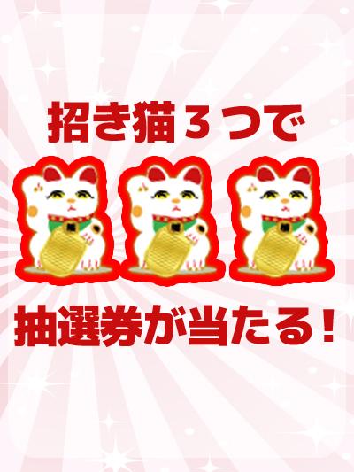 招き猫が3つ揃えば福引券ゲット! フォームを記入の上、メールをお待ちください。