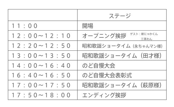 10:00から矢沢永吉さんのものまね永ちゃんマンさん 11:30から田才靖子さん 16:00から萩原良子さん 三茶わんと浅草商店街から新にゃかくんも来てくれます。